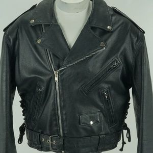Men Motorcycle Classic Genuine Real Leather Jacket